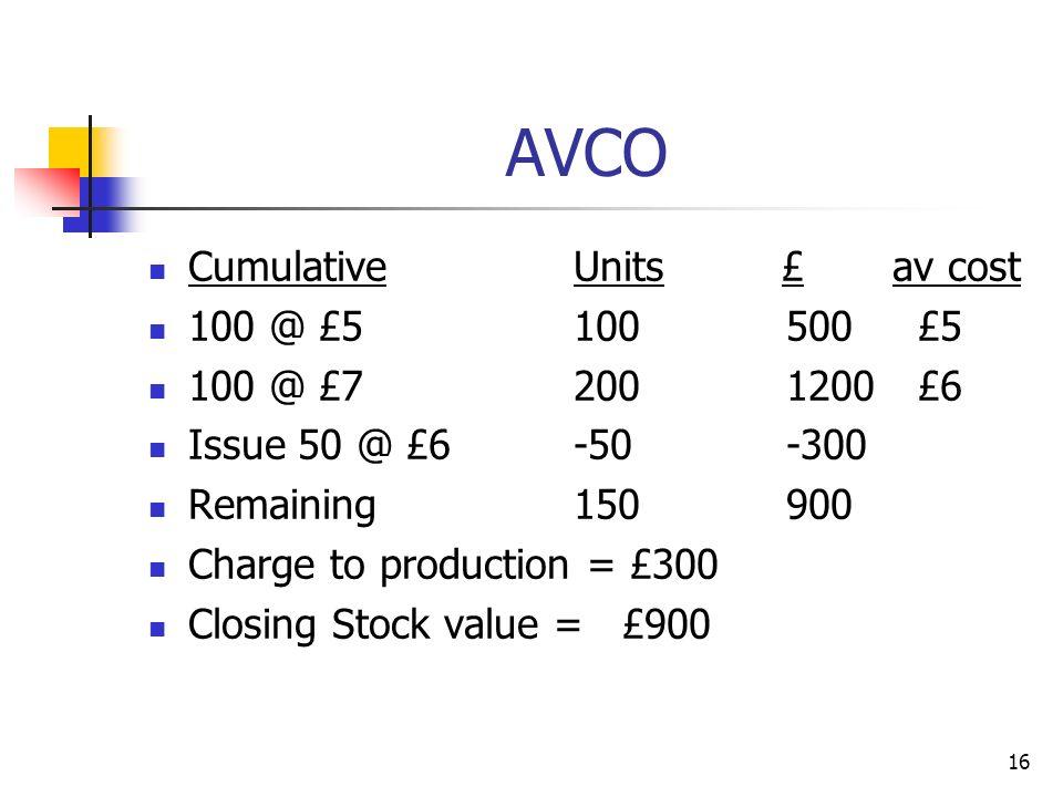 AVCO Cumulative Units £ av cost 100 @ £5 100 500 £5