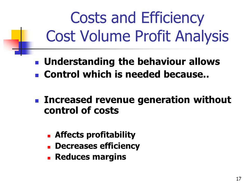 Costs and Efficiency Cost Volume Profit Analysis