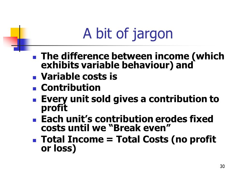 A bit of jargon The difference between income (which exhibits variable behaviour) and. Variable costs is.