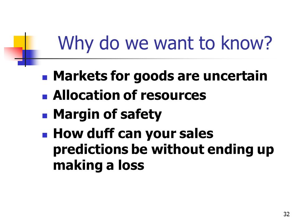Why do we want to know Markets for goods are uncertain