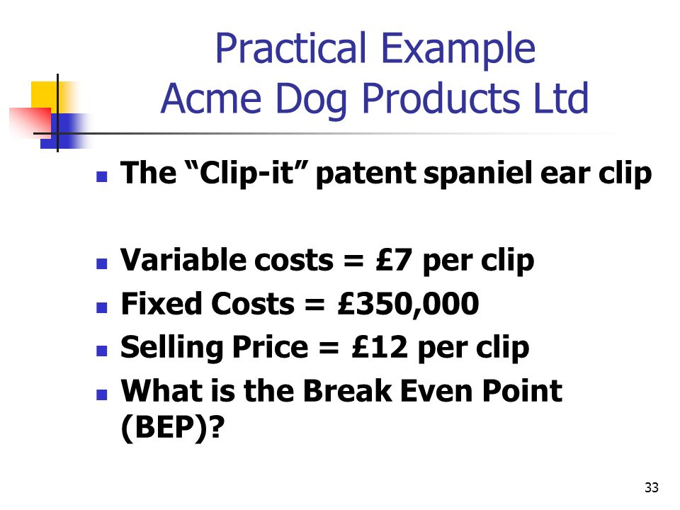 Practical Example Acme Dog Products Ltd