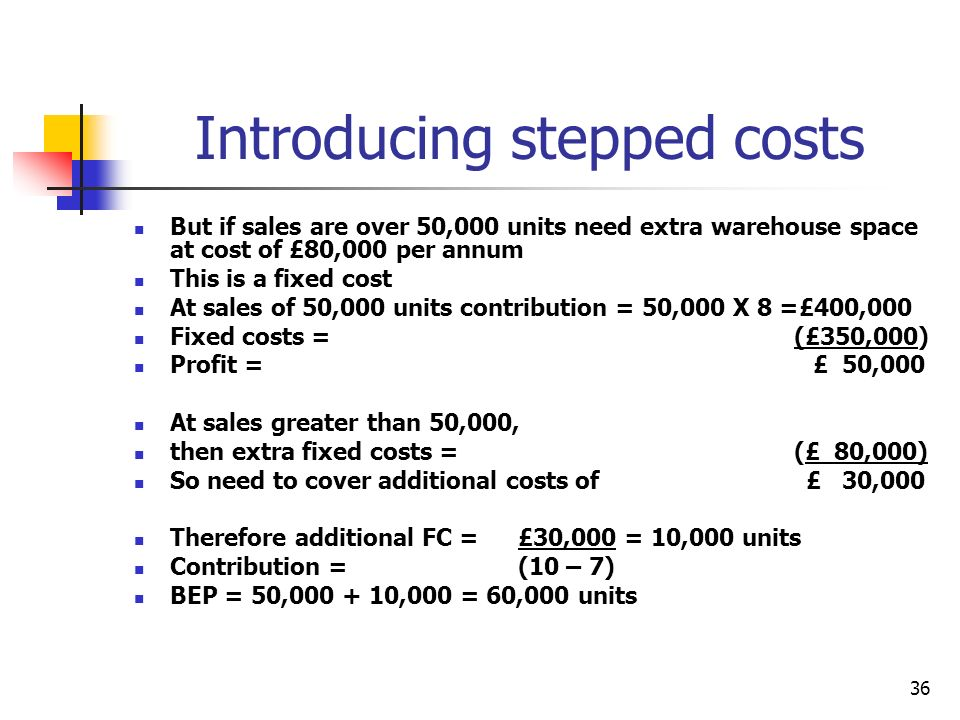 Introducing stepped costs