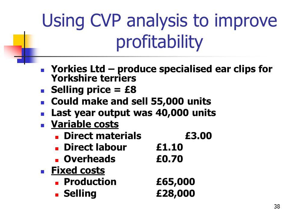 Using CVP analysis to improve profitability