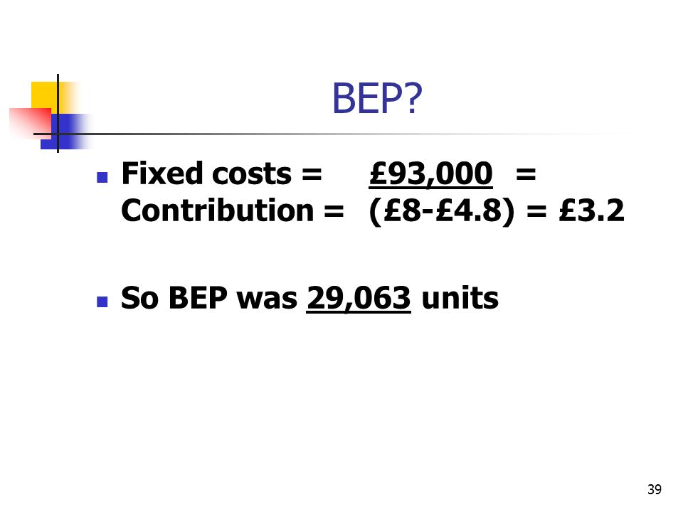 BEP Fixed costs = £93,000 = Contribution = (£8-£4.8) = £3.2