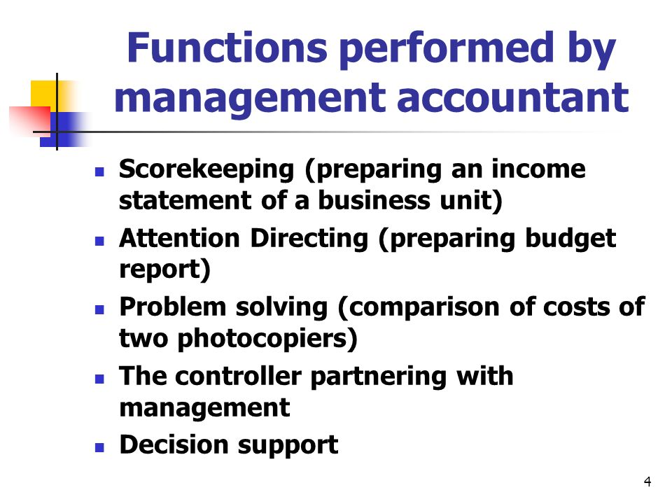 Functions performed by management accountant