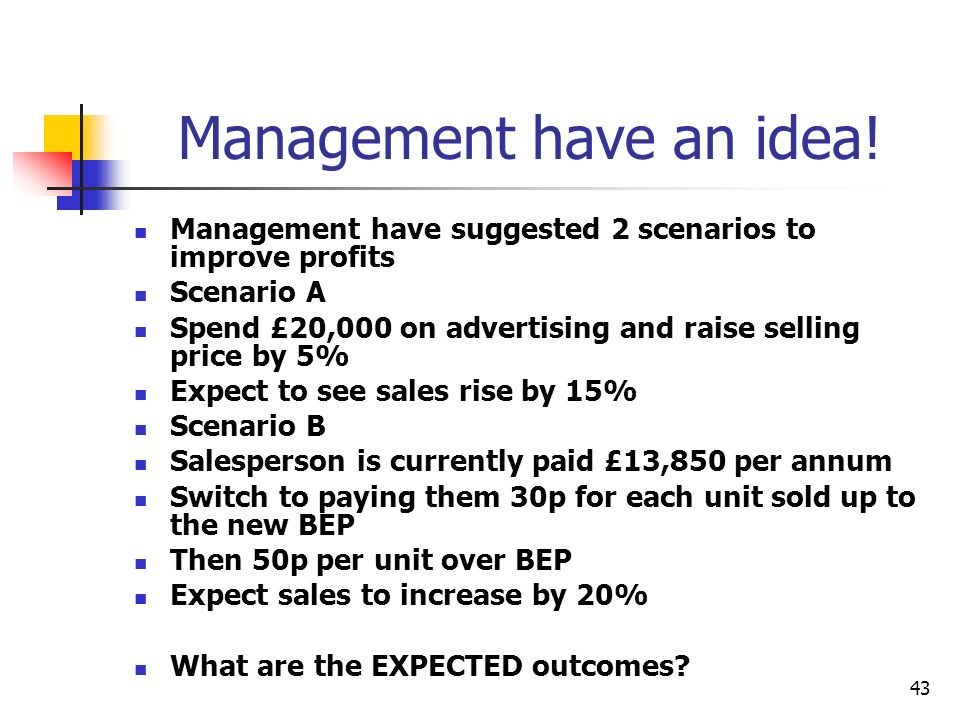 Management have an idea!