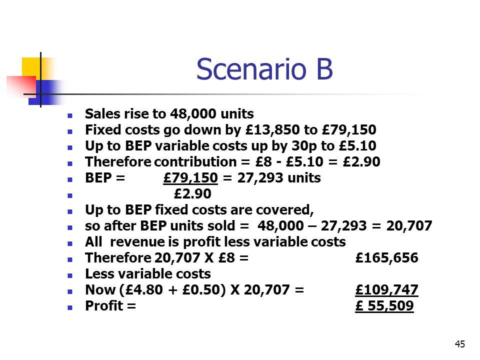 Scenario B Sales rise to 48,000 units