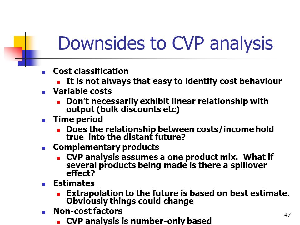 Downsides to CVP analysis