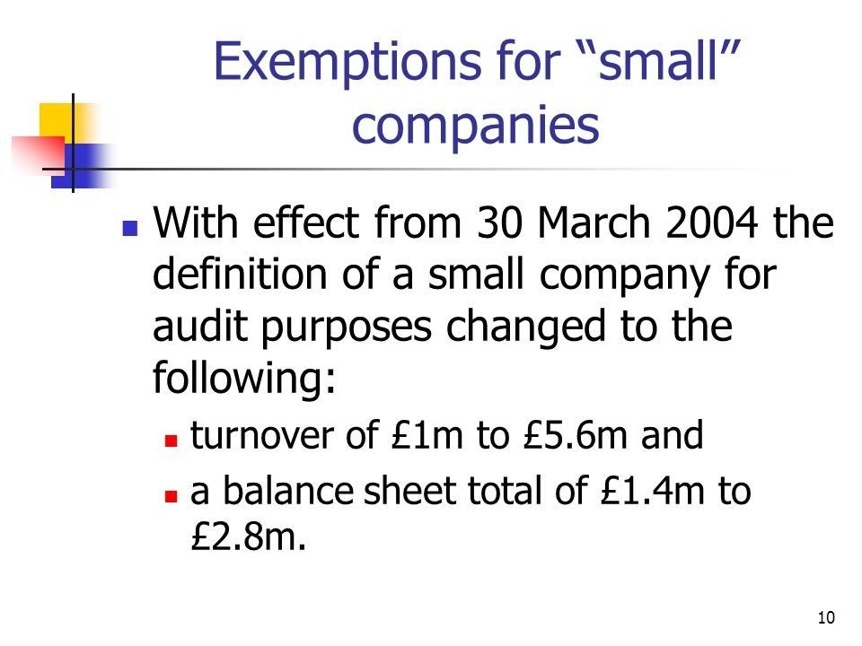Exemptions for small companies