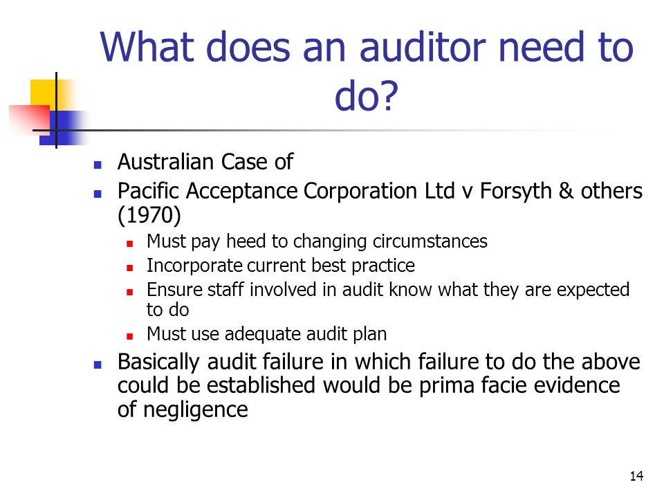 What does an auditor need to do