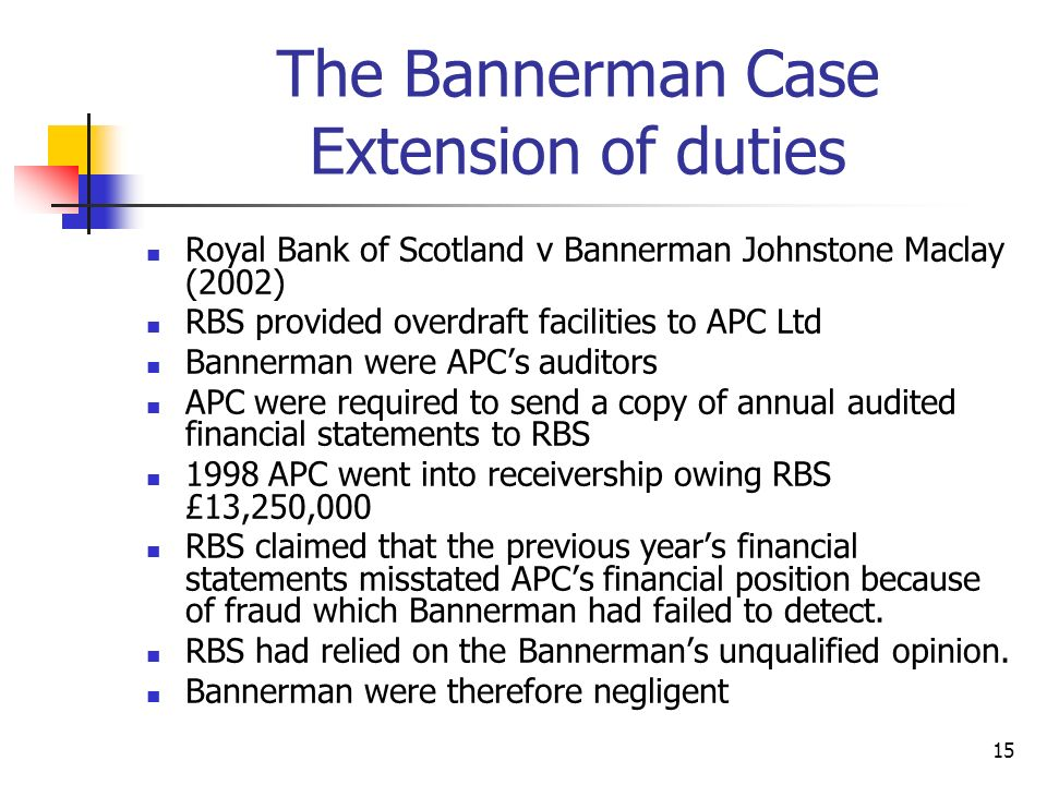 The Bannerman Case Extension of duties