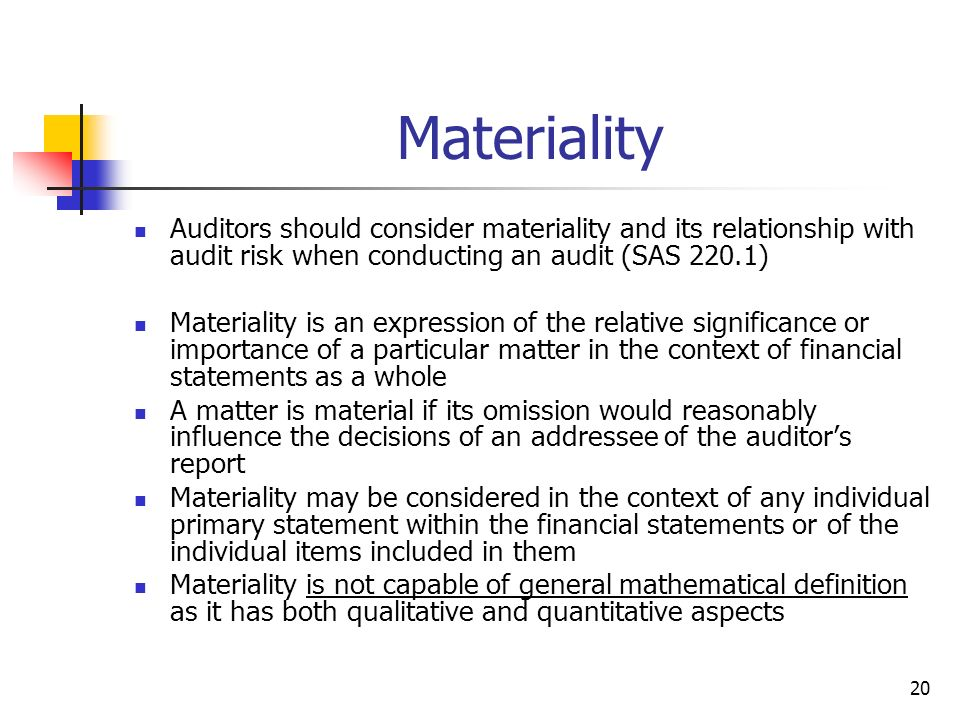 Materiality Auditors should consider materiality and its relationship with audit risk when conducting an audit (SAS 220.1)