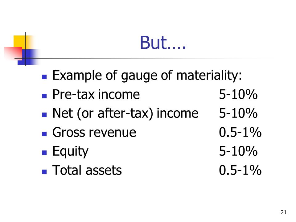 But…. Example of gauge of materiality: Pre-tax income 5-10%