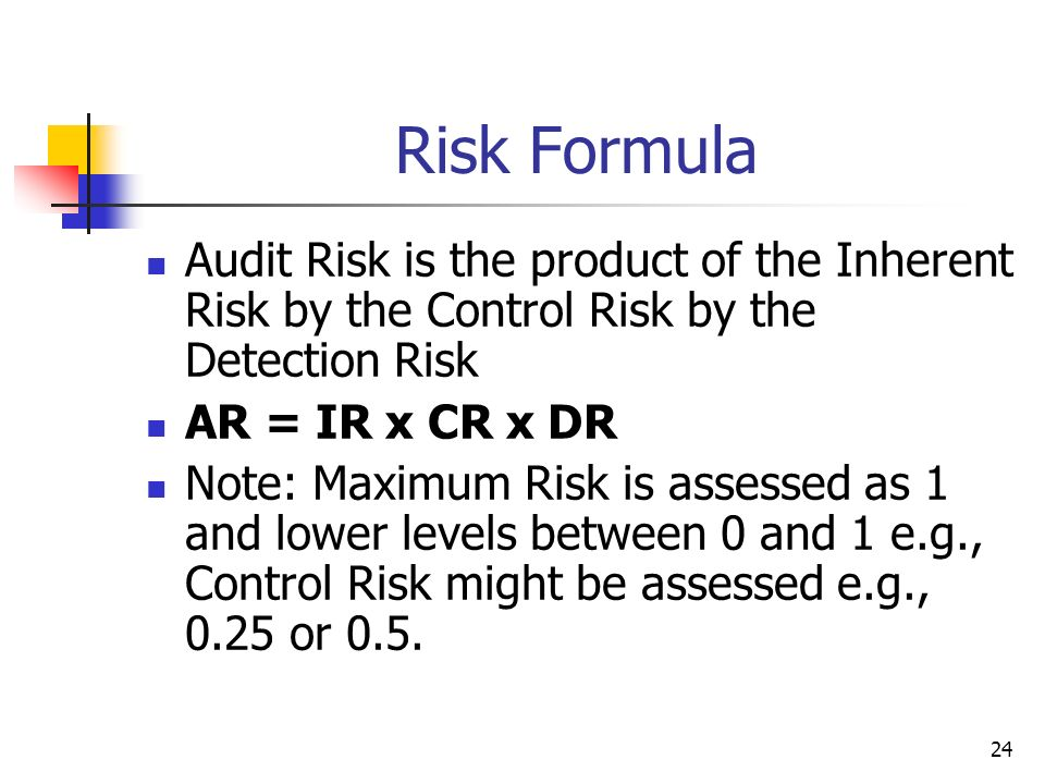Risk Formula Audit Risk is the product of the Inherent Risk by the Control Risk by the Detection Risk.