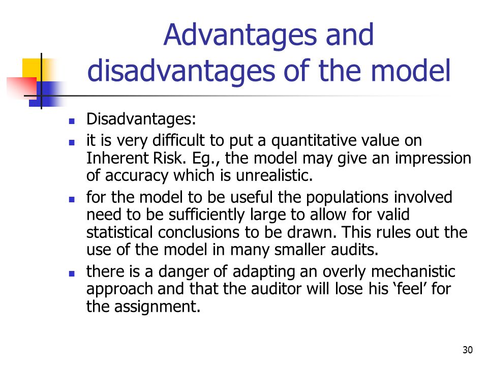Advantages and disadvantages of the model