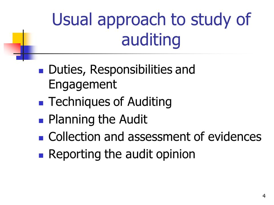 Usual approach to study of auditing