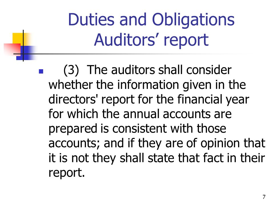 Duties and Obligations Auditors' report