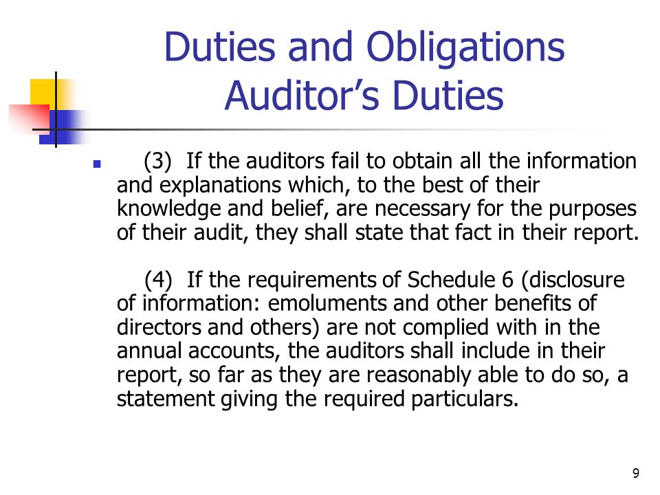 Duties and Obligations Auditor's Duties