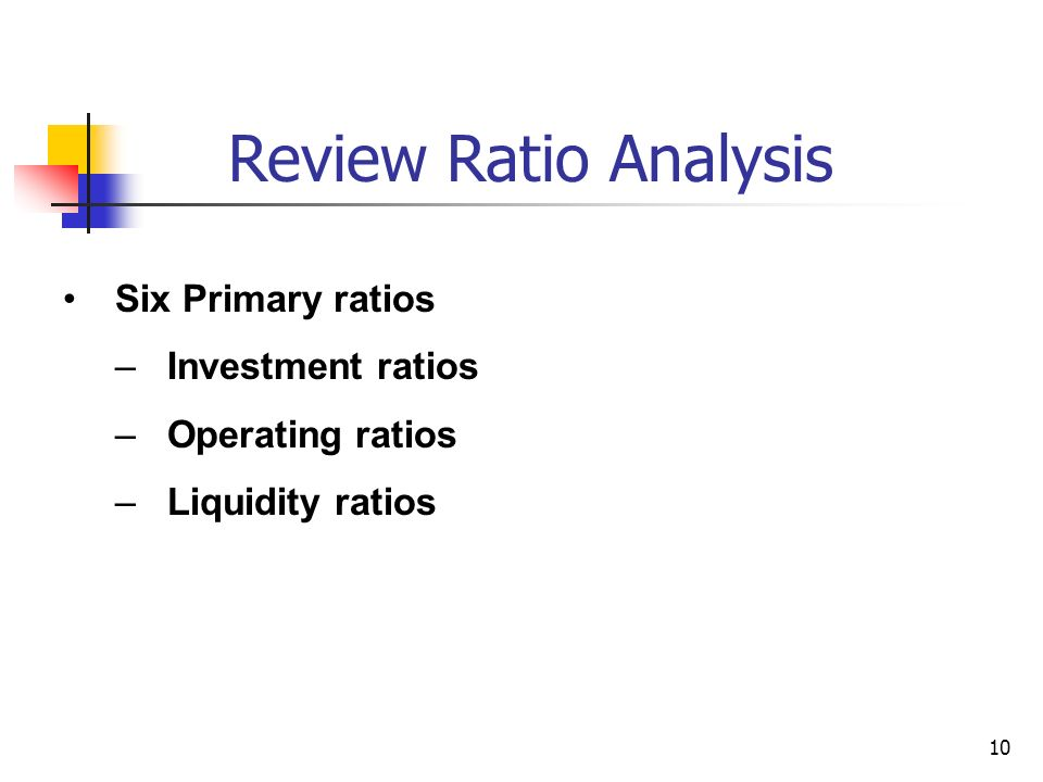 Review Ratio Analysis Six Primary ratios Investment ratios