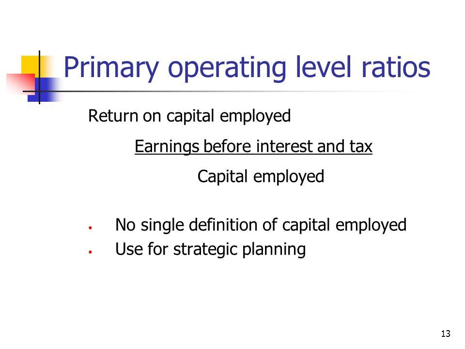 Primary operating level ratios
