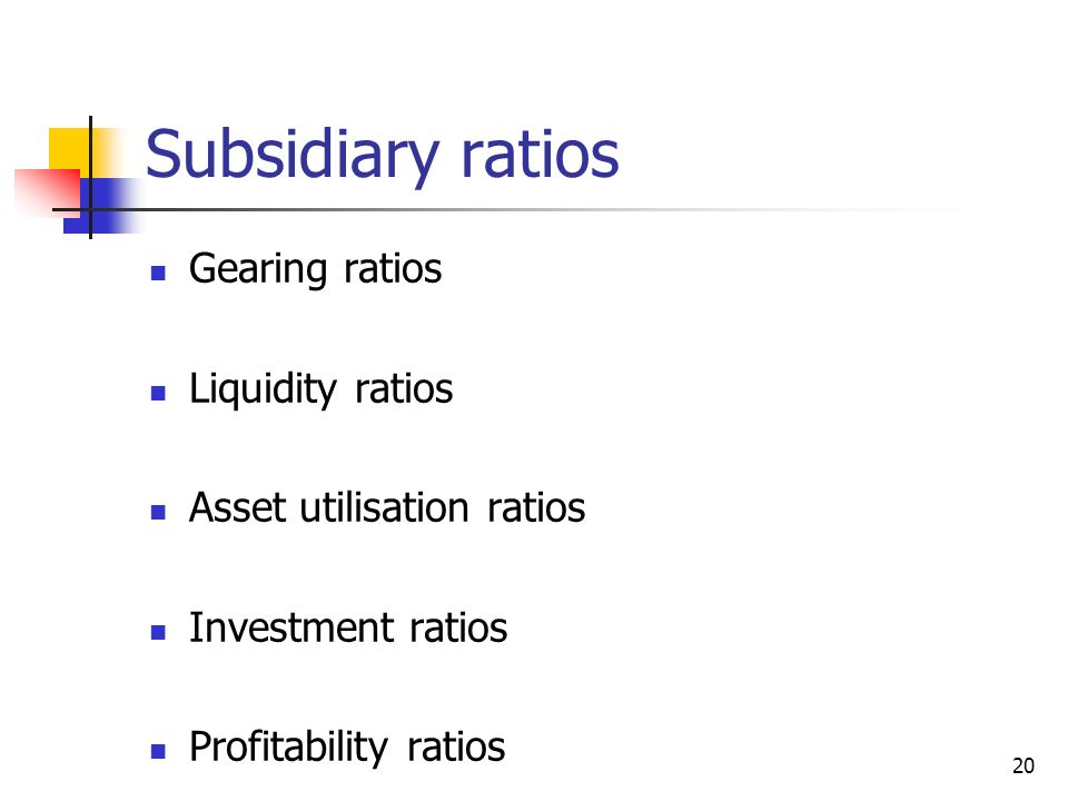 Subsidiary ratios Gearing ratios Liquidity ratios