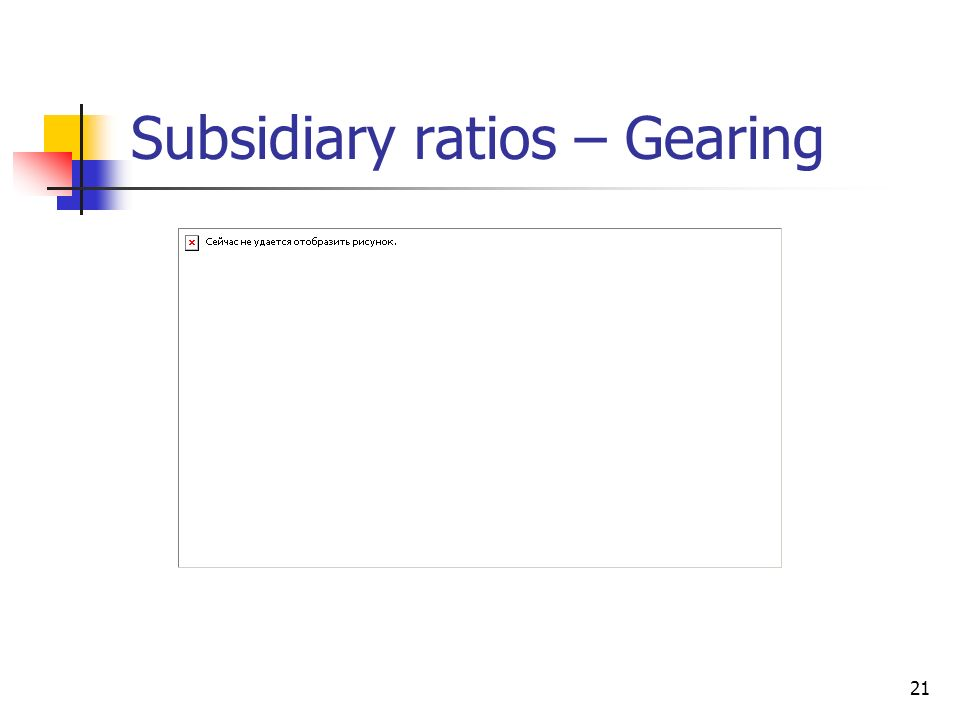 Subsidiary ratios – Gearing