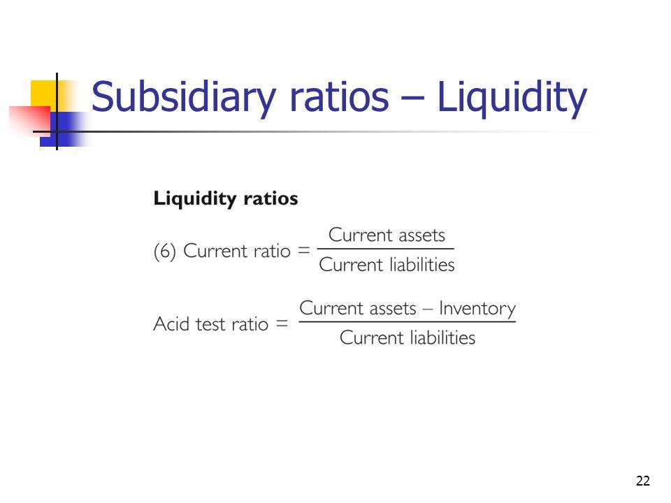 Subsidiary ratios – Liquidity