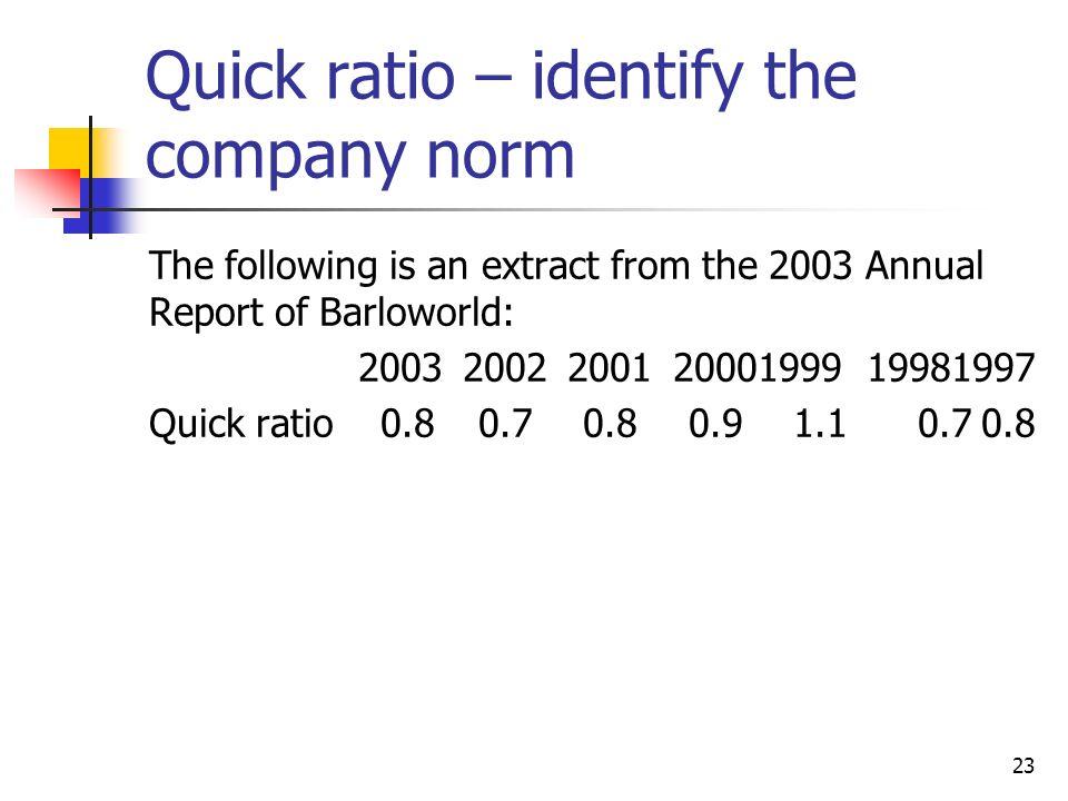Quick ratio – identify the company norm