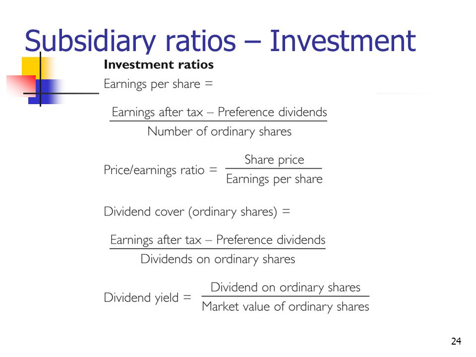 Subsidiary ratios – Investment