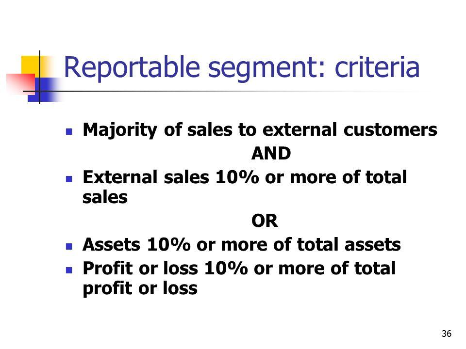 Reportable segment: criteria