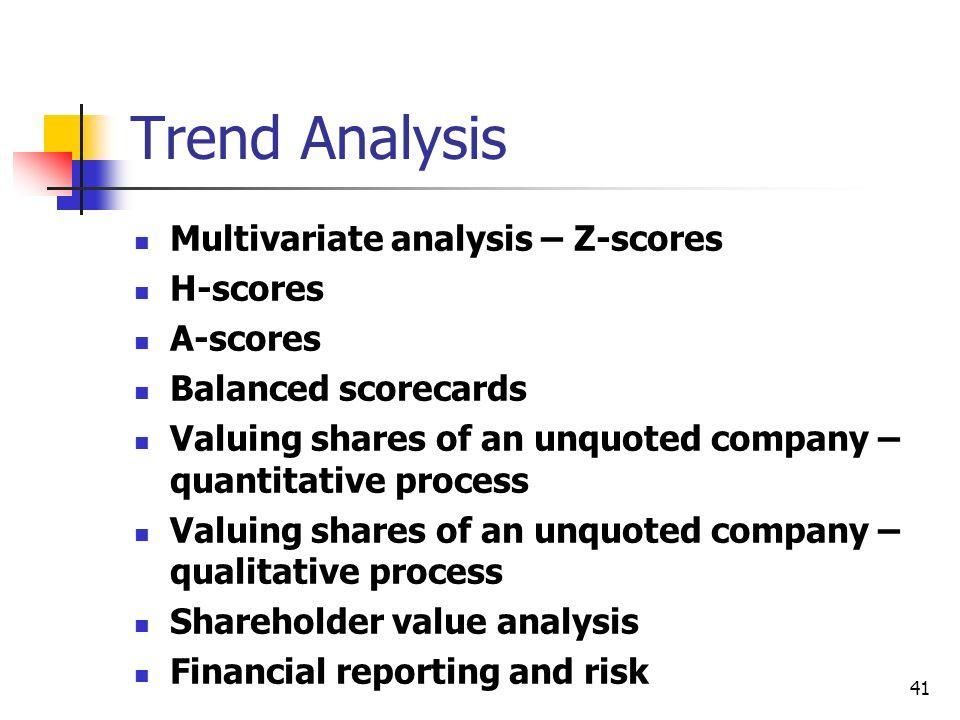Trend Analysis Multivariate analysis – Z-scores H-scores A-scores