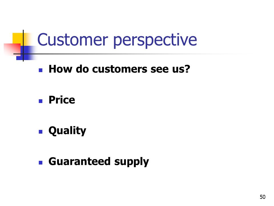 Customer perspective How do customers see us Price Quality