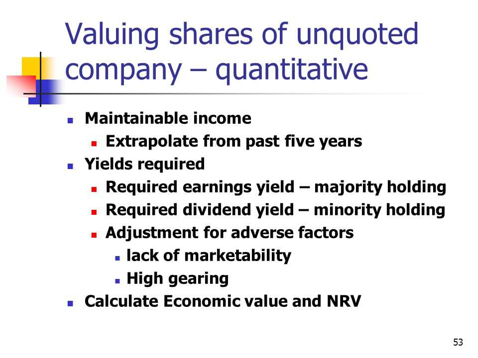 Valuing shares of unquoted company – quantitative