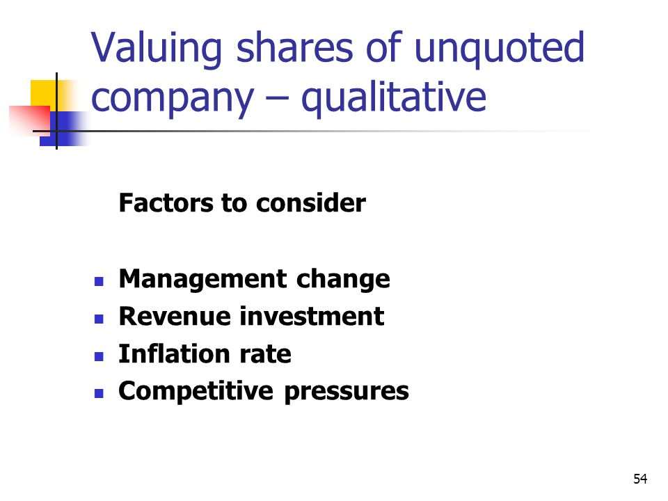 Valuing shares of unquoted company – qualitative