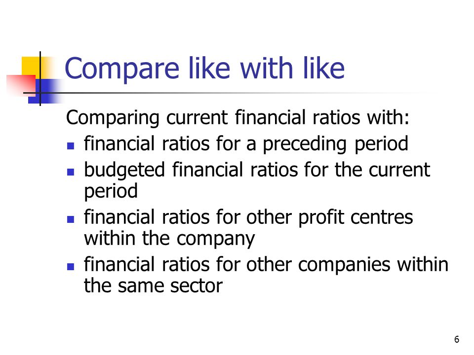 Compare like with like Comparing current financial ratios with: