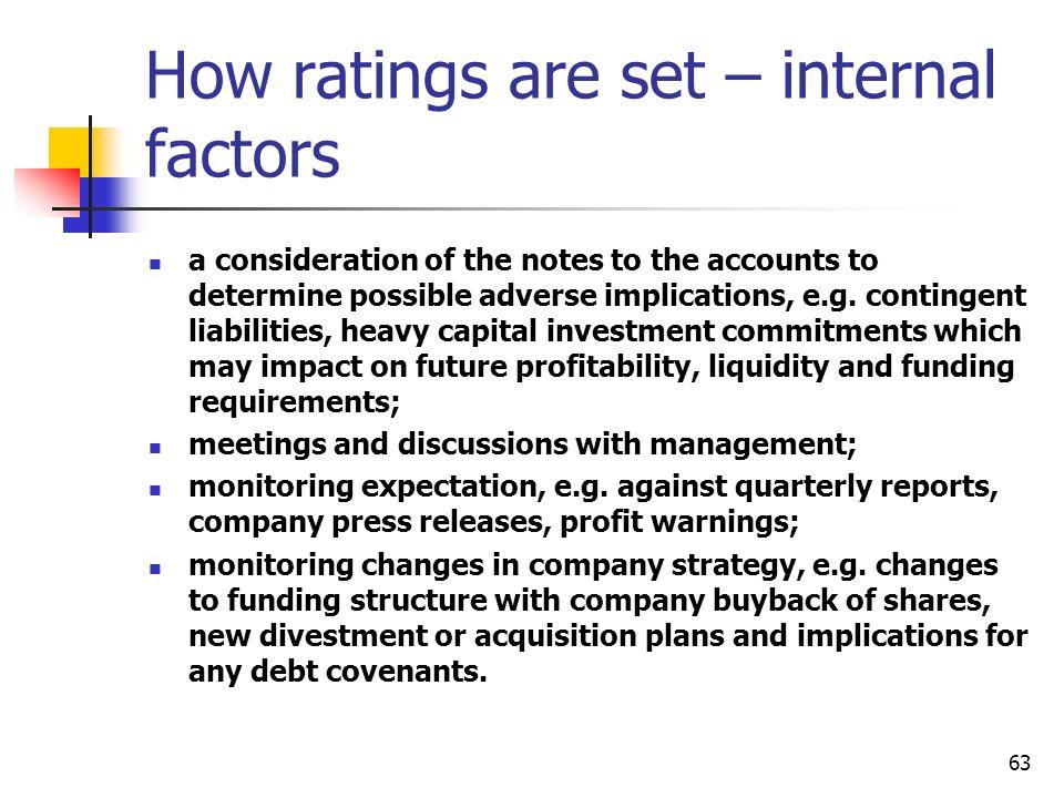 How ratings are set – internal factors