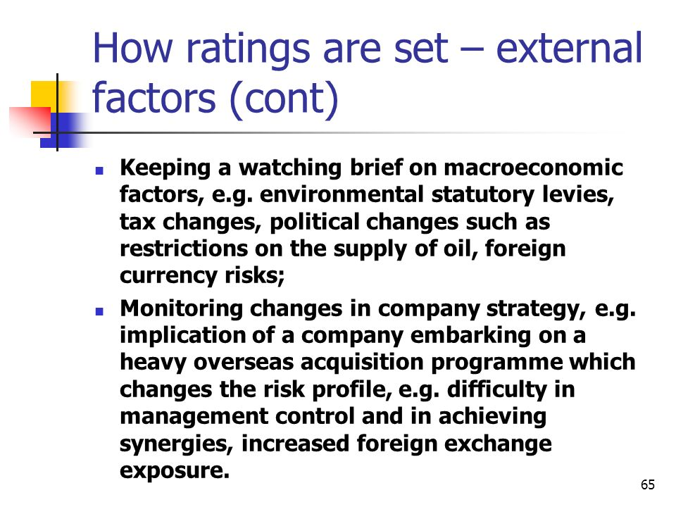 How ratings are set – external factors (cont)