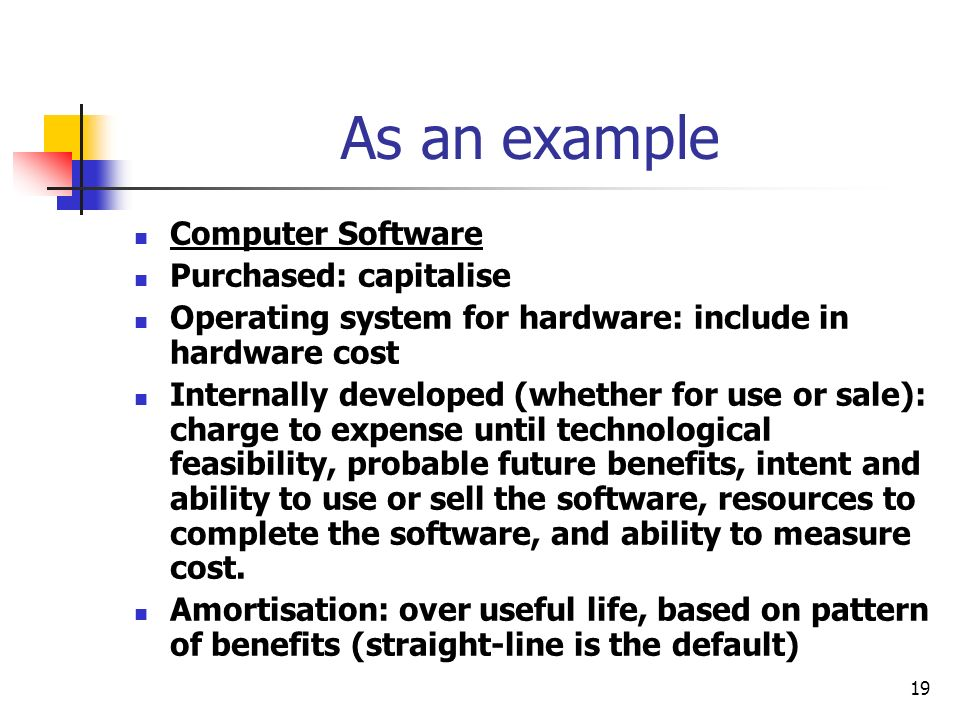 As an example Computer Software Purchased: capitalise