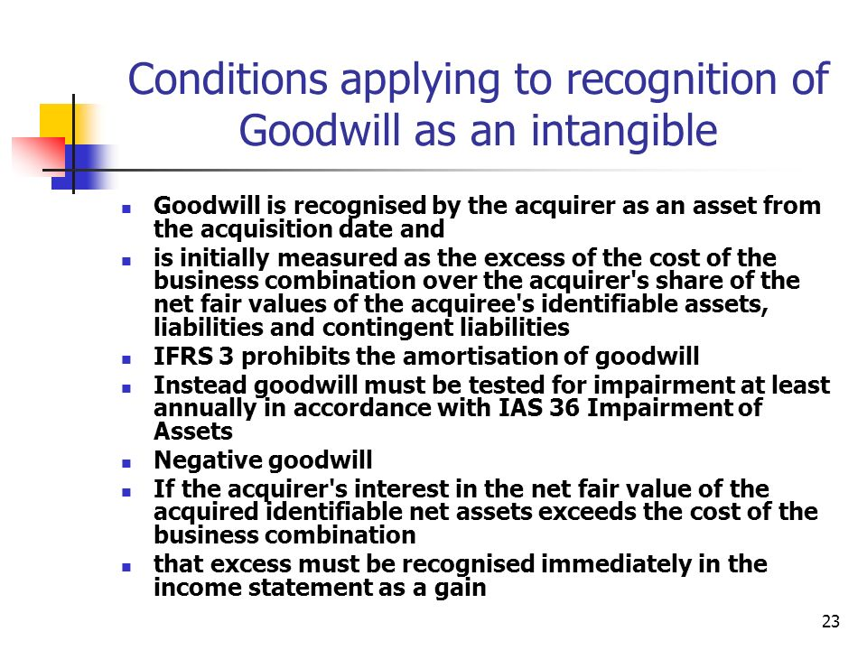 Conditions applying to recognition of Goodwill as an intangible
