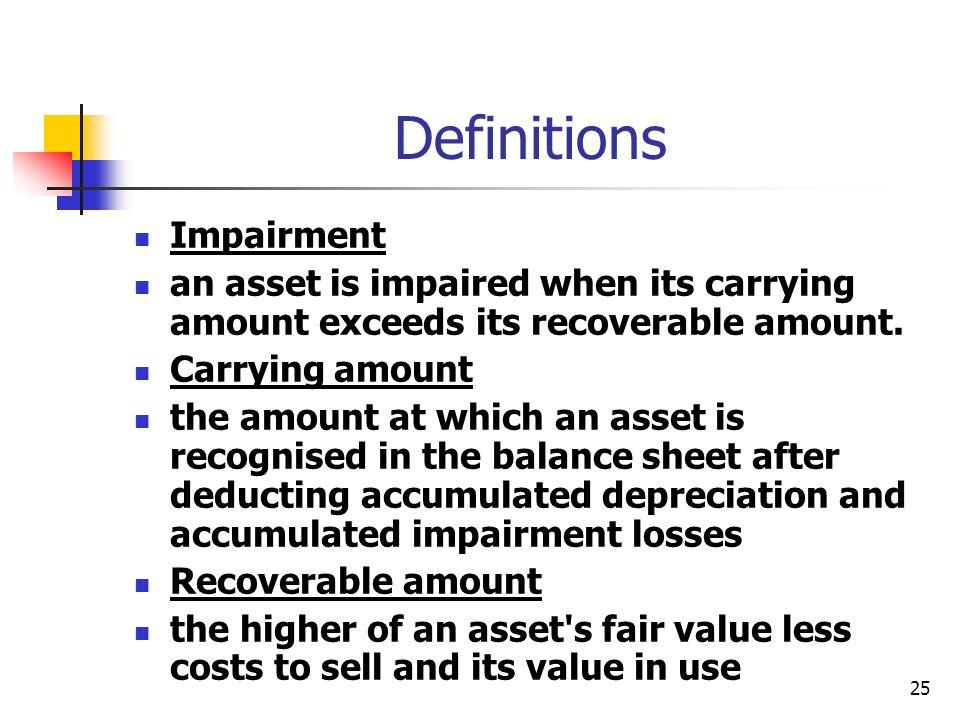 Definitions Impairment