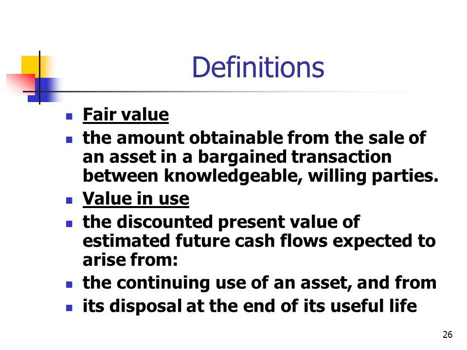 Definitions Fair value