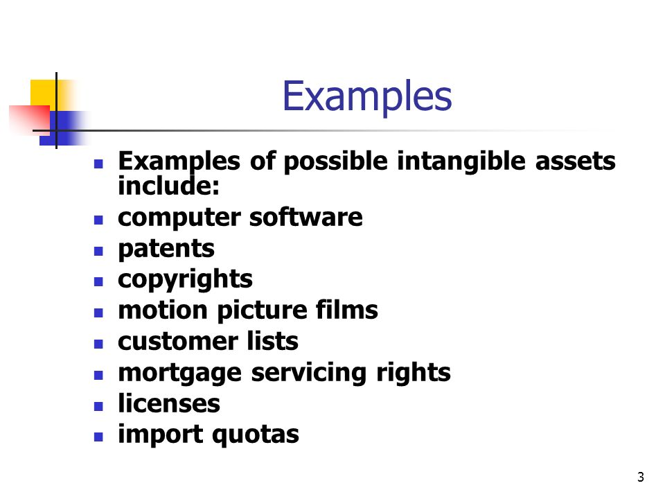 Examples Examples of possible intangible assets include: