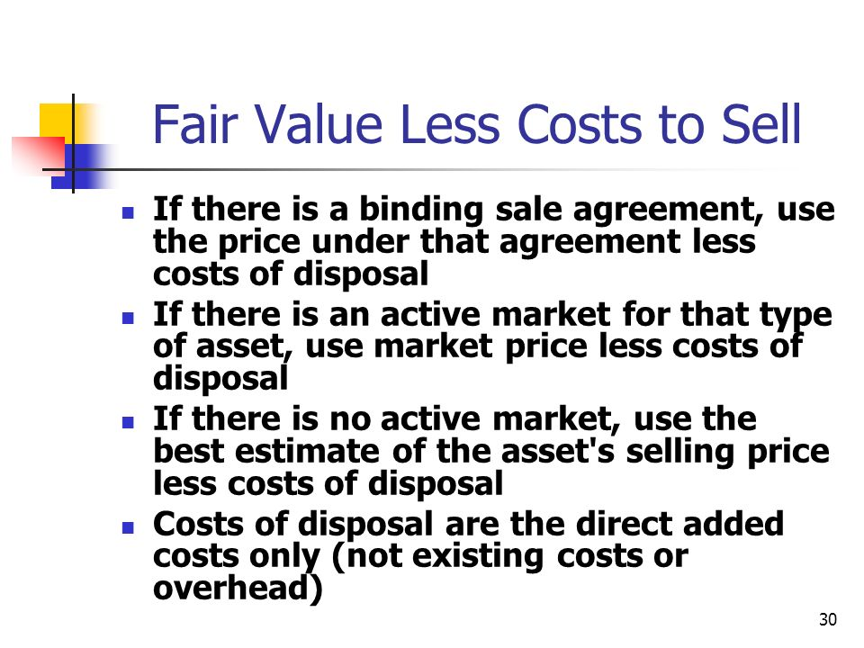 Fair Value Less Costs to Sell