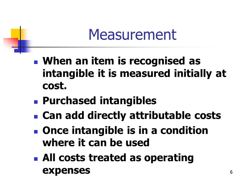 Measurement When an item is recognised as intangible it is measured initially at cost. Purchased intangibles.