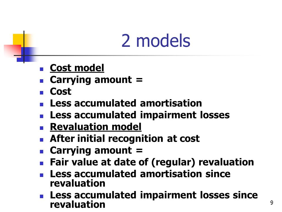2 models Cost model Carrying amount = Cost