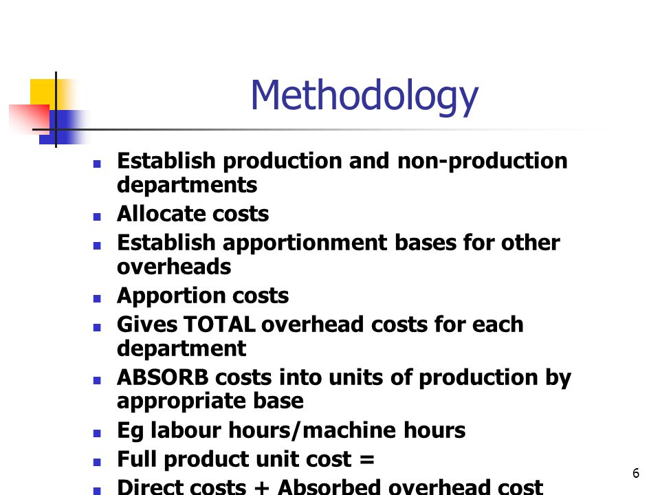 Methodology Establish production and non-production departments