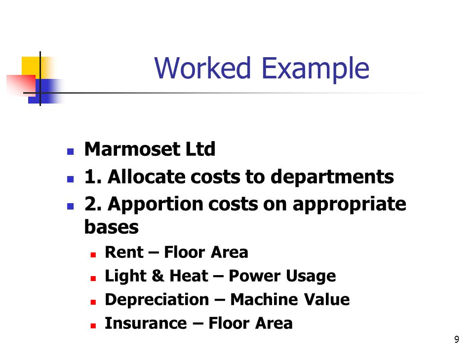 Worked Example Marmoset Ltd 1. Allocate costs to departments