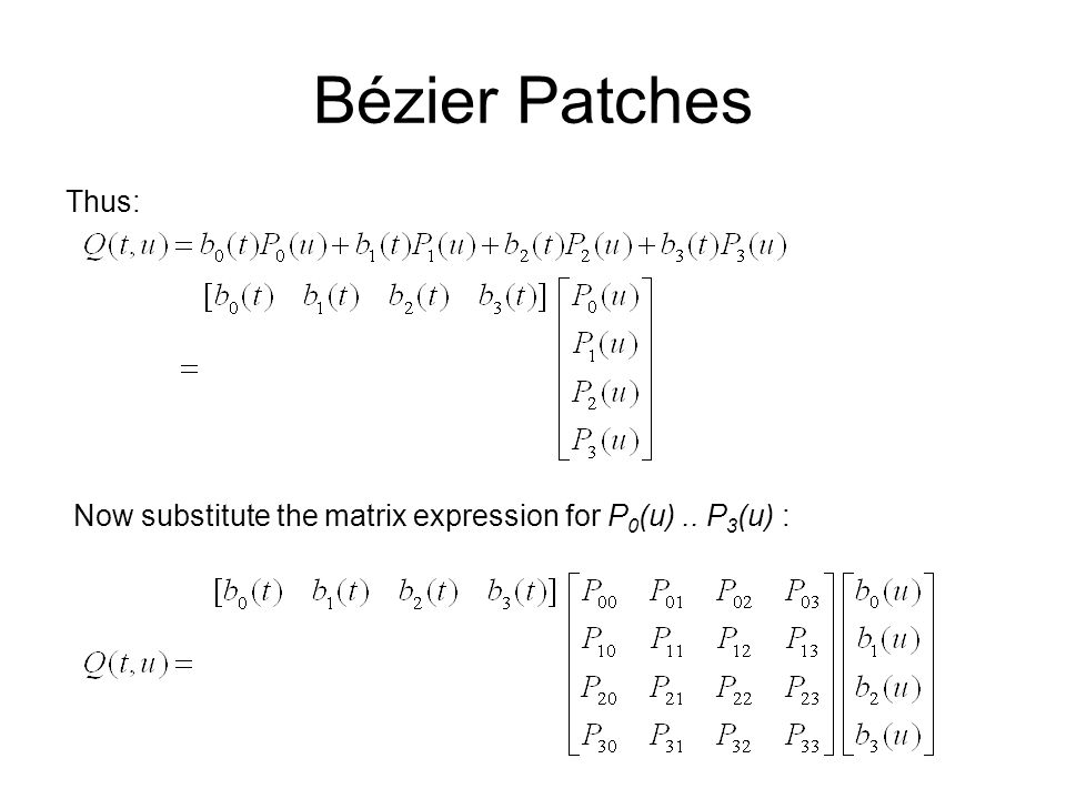 Bézier Patches Thus: Now substitute the matrix expression for P0(u) .. P3(u) :