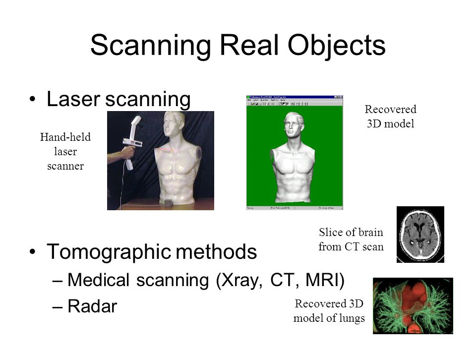Scanning Real Objects Laser scanning Tomographic methods
