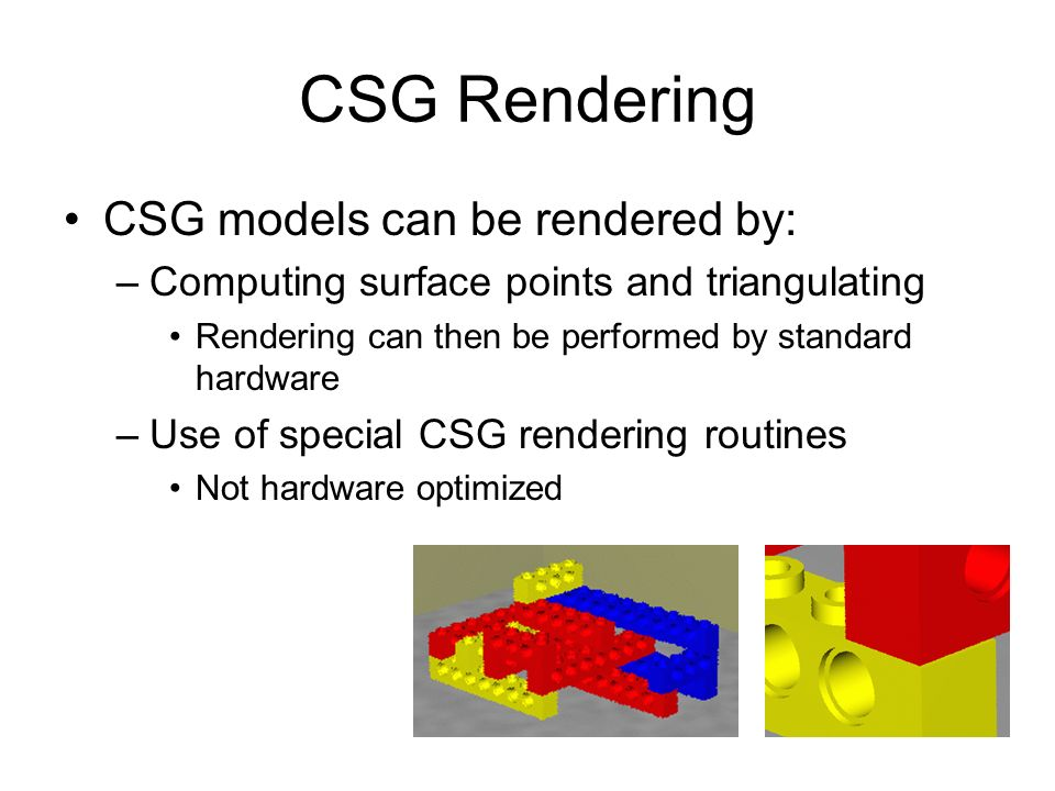 CSG Rendering CSG models can be rendered by:
